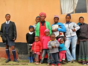 The Mankayi family outside their home near Mthatha, Eastern Cape. They have not received compensation after husband and father Thembekile died after contracting silicosis as a miner