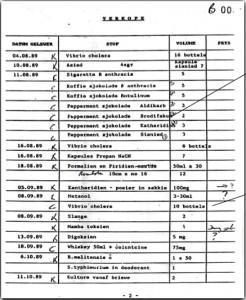 One of the many pages of Project Coast records found in a trunk implicating Basson. The sheet records orders of peppermint chocolate brodifacum (a hallucinogenic) as well as vials of cholera and whisky laced with poison placed with the Project Coast front company Roodeplaat Research Laboratories.