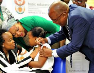 Minister of Health Dr Aaron Motsoaledi launched the HPV vaccine campaign at Gonyane Primary in Mangaung in the Free State in 2014