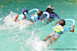 Busi Mdlalose teaches children the important skill of swimming