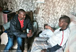 Mpho Modzai (left) used to walk Mamelodi's Nyaope Road looking for a hit, now he walks it as a community health worker trying to bring health out of clinics and into communities.