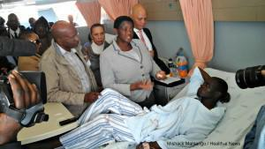Minister of Social Development Minister Bathabile Dlamini visits one of the victims of the Soshanguve Plaza shoot out
