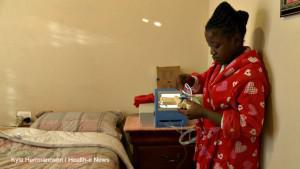 """Ntokozo Kubeka,16, is one of the lucky ones. She is able to undergo dialysis at home. """"I love my machine because it's my kidney,"""" she says."""