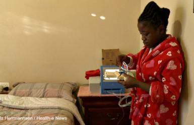 "Ntokozo Kubeka,16, is one of the lucky ones. She is able to undergo dialysis at home. ""I love my machine because it's my kidney,"" she says."