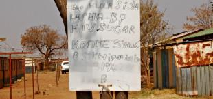 A flyer at the Jouberton Hostel in the North West advertises the services of a traditional healer and makes bogus claims about being able to cure HIV, diabetes and high blood pressure
