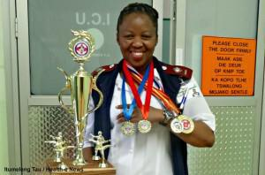 Intensive Care Unit Nurse Mamokete Moleme, 36, recently took the title of Best Female Fighter at a Kimberley competition as she competed to represent South Africa in international competition next year. Moleme has proposed starting a workplace fitness programme at her place or work the Klerksdorp Tshepong Hospital Complex.