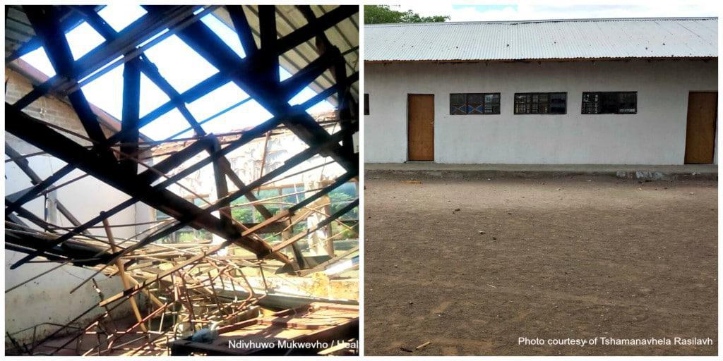 This before and after photo shows an old Bale Primary School classroom alongside new ones built by former student  Mulalo Simeti