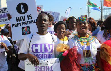 The Treatment Action Campaign (TAC) marches for ARV treatment for all in Durban before the international AIDS conference opened. Pic: Sibongile Nkosi