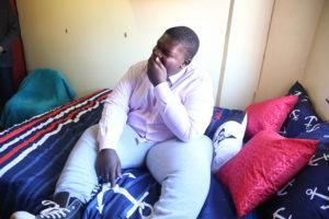 Pensive Tshabangu, a first year student who suffers from various conditions that impact heavily on is mobility, is thrilled with his new bed.