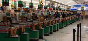 Tills at an American supermarket. (Credit: Flickr/ Anthony Starks)
