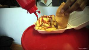 Greasy 'slap chips' on offer at a school tuck shop - dietitians warn offering food like this to learners is increasing rates of childhood obesity.