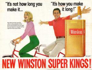 A 1967 advert for Winston cigarettes. Tobacco companies often used images of good-looking people doing healthy things like cycling in their marketing campaigns. Credit: rchappo2002/ Flickr