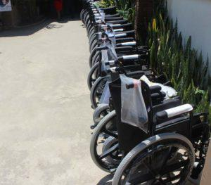 Gillion Mashego, handed 30 people living with disabilities each their own wheelchair.