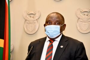Cyril Ramaphosa wearing a mask before announcing level 3 lockdown in South Africa