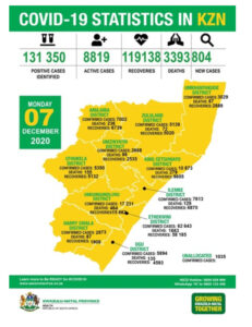 Map of KZN covid cases
