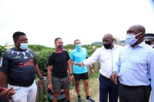 KwaZulu-Natal MEC for Transport, Community Safety and Liaison Mr Bheki Ntuli together with Ethekwini Municipality Mayor Cllr Mxolisi Kaunda