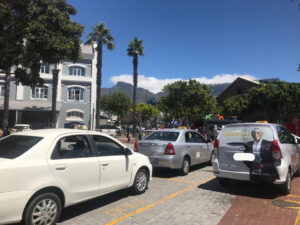 Taxis waiting for passengers at a loading bay in Cape Town VA Waterfront