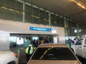 Cape Town international airport security and cars parked