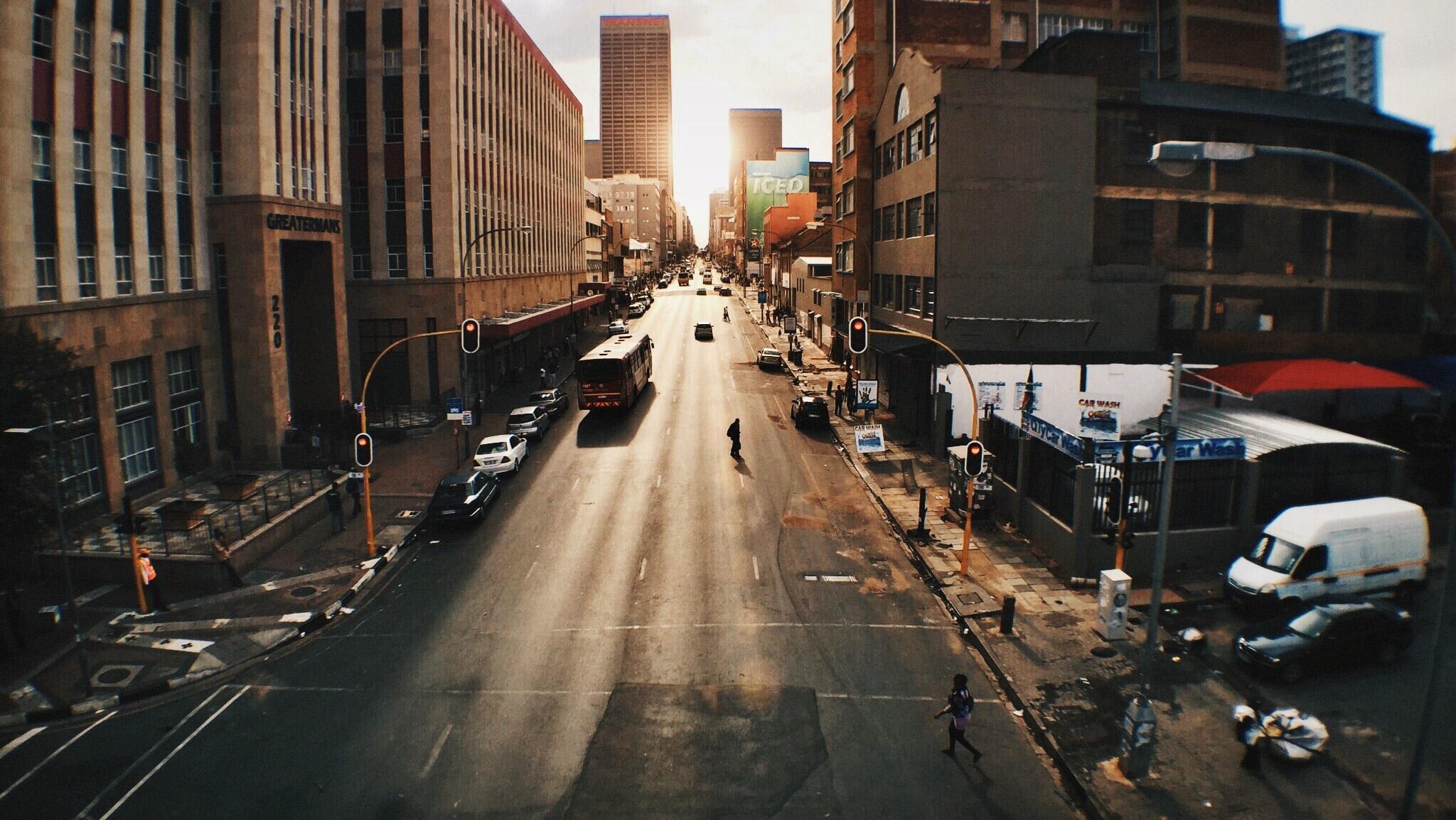 Downtown Johannesburg showing little traffic