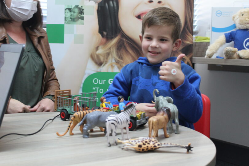 Ruben Scheepers able to hear for the first time following cochlear implant.